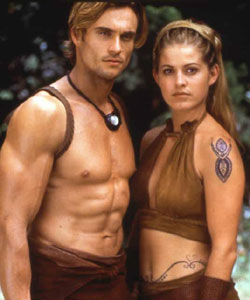 "Daniel Goddard and Alexandra Davies as Zuraya ""The Slayer"" Season 1"